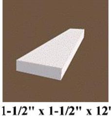 """1-1/2"""" x 1-1/2"""" x 12' White Vinyl 2x2 Trim Plank Moulding"""