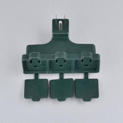 Smart Electrician Green Triple-Tap Adapter with Covers