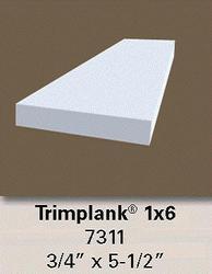"""3/4"""" x 5-1/2"""" x 12' White Vinyl 1x6 Trim Plank Moulding"""