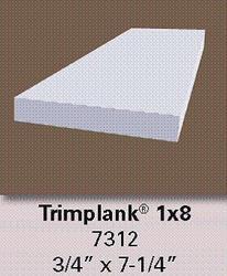 """3/4"""" x 7-1/4"""" x 8' White Vinyl 1x8 Trim Plank Moulding"""