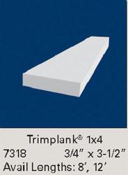 """3/4' x 3-1/2"""" x 8' White Vinyl 1x4 Trim Plank Moulding"""