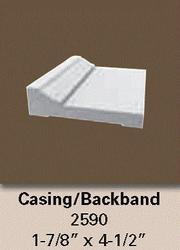 "1-3/16"" x 4-1/2"" x 12' White Vinyl Casing Backband"