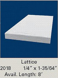 "1/4"" x 1-35/64"" x 8' White Vinyl Lattice"