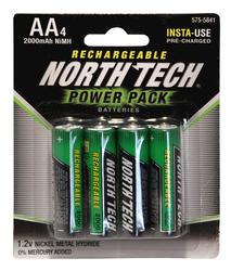 North Tech® AA Precharged NiMH Batteries - 4 pk.