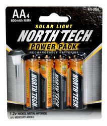 North Tech® AA NiMH Solar Light Batteries - 4 pk.