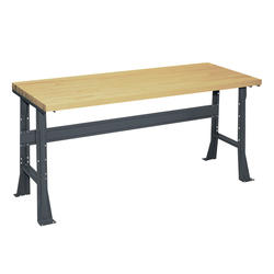 "Edsal Basic 60"" x 30"" x 34"" Flared Leg Butcher Block Top Workbench"