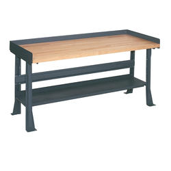 "Edsal Basic Plus 60"" x 30"" x 34"" Flared Leg Butcher Block Maple Top Workbench"