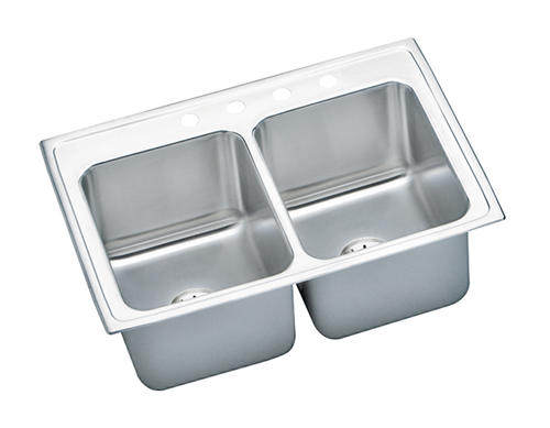 """Lustertone SS 33""""x22"""" Double Bowl Top Mount Kitchen Sink"""