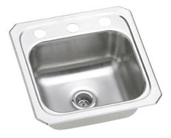 "Lustertone SS 15""x15"" Single Bowl Top Mount Bar/Hospitality Sink"