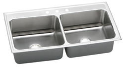 "Lustertone SS 43""x22"" Double Bowl Top Mount Kitchen Sink"
