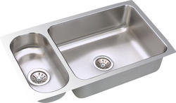 "Lustertone SS 32-1/4""x18-1/4"" Double Bowl Undermount Kitchen Sink With Reveal"