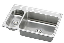 "Lustertone SS 33""x22"" Double Bowl Top Mount Kitchen Sink"
