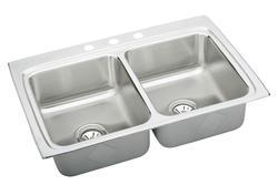 "Lustertone SS 33""x22"" Double Bowl Topmount Kitchen Sink"