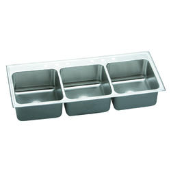 "Lustertone SS 54""x22"" Triple Bowl Top Mount Kitchen Sink"