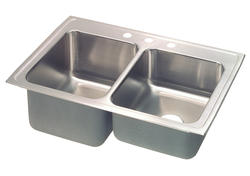 "Lustertone SS 43""x22""Top Mount Double Bowl Kitchen Sink"