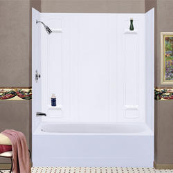 Mustee Durawall 30 in. or 32 in. x 60 in. x 57 in. 5-piece Easy Up Adhesive Tub Wall