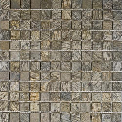 "Gold Green Tumbled Slate Mosaic Floor or Wall Tile 1"" x 1"""