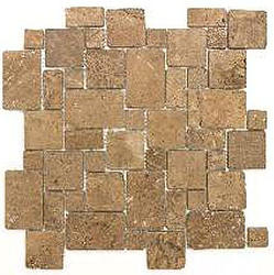 Noce Tumbled Travertine Random Mosaic Floor or Wall Tile Mini Versailles