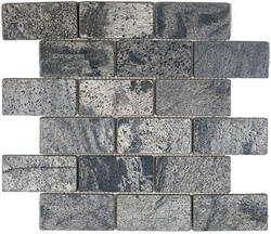 """Ostrich Grey Tumbled Slate Mosaic Floor or Wall Tile 2"""" x 4"""""""