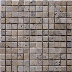 "Philadelphia Tumbled Travertine Mosaic Floor or Wall Tile 1"" x 1"""