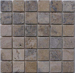 "Philadelphia Tumbled Travertine Mosaic Floor or Wall Tile 2"" x 2"""
