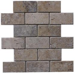 "Philadelphia Tumbled Travertine Mosaic Floor or Wall Tile 2"" x 4"""