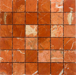 """Rojo Alicante Polished Marble Mosaic Floor or Wall Tile 2"""" x 2"""""""