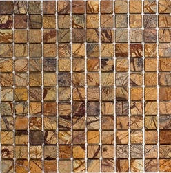 "Rain Forest Brown Tumbled Marble Mosaic Floor or Wall Tile 1"" x 1"""