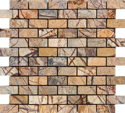 """Rain Forest Brown Tumbled Marble Mosaic Floor or Wall Tile 1"""" x 2"""""""
