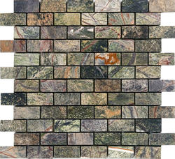 "Rain Forest Green Tumbled Marble Mosaic Floor or Wall Tile 1"" x 2"""