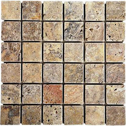 "Scabos Tumbled Travertine Mosaic Floor or Wall Tile 2"" x 2"""