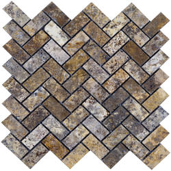 "Scabos Tumbled Travertine Mosaic Floor or Wall Tile 1"" x 2"" Herringbone"
