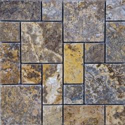 Scabos Tumbled Travertine Random Mosaic Floor or Wall Tile Mini Versailles
