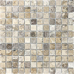 "Silver Tumbled Travertine Mosaic Floor or Wall Tile 1"" x 1"""