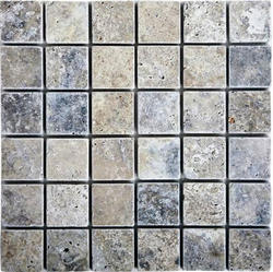 "Silver Tumbled Travertine Mosaic Floor or Wall Tile 2"" x 2"""