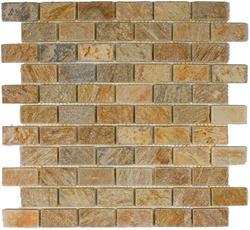 "Sunny Ray Tumbled Slate Mosaic Floor or Wall Tile 1"" x 2"""