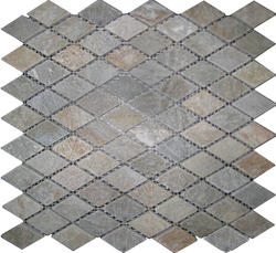 "Sunny Ray Tumbled Slate Mosaic Floor or Wall Tile 1"" x 2"" Diamond"