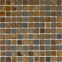 """Sunsets Tumbled Slate Mosaic Floor or Wall Tile 1"""" x 1"""""""