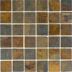 "Sunsets Tumbled Slate Mosaic Floor or Wall Tile 2"" x 2"""