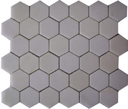 "Thassos White Polished Marble Mosaic Floor or Wall Tile 2"" x 2"" Hexagon"