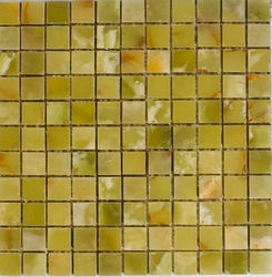 "Verde Polished Onyx Mosaic Floor or Wall Tile 1"" x 1"""