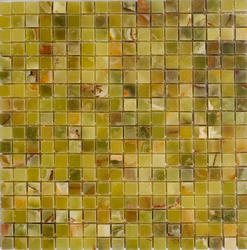 "Verde Polished Onyx Mosaic Floor or Wall Tile 5/8"" x 5/8"""