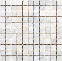 "White Carrara Polished Marble Mosaic Floor or Wall Tile 1"" x 1"""
