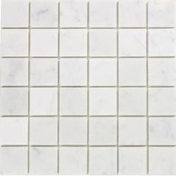 "White Carrara Polished Marble Mosaic Floor or Wall Tile 2"" x 2"""