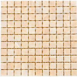 """White Polished Onyx Mosaic Floor or Wall Tile 1"""" x 1"""""""