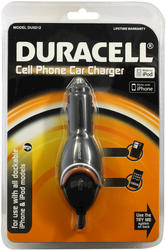 Duracell Cell Phone Car Charger for iPhones and iPods