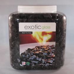"Black Fire Glass (1/2""-3/4"") - 15 lb. Jar"