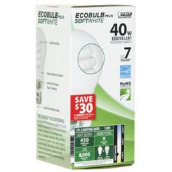 9 Watt CFL A19 Shape Ecobulb Plus Light Bulb