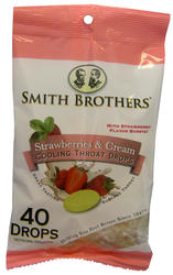 Smith Brothers Strawberries & Cream Cooling Throat Drops - 40-ct