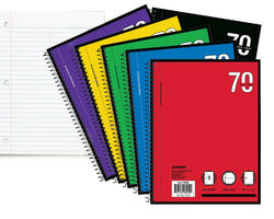 1-Subject Wide Rule Spiral Notebook - 70 sheets